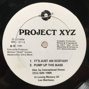 Project XYZ - It's Just An Ecstasy - More Music Records - MM – 017