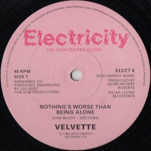 Velvette - Nothing's Worse Than Being Alone - Electricity Records - ELECT 4