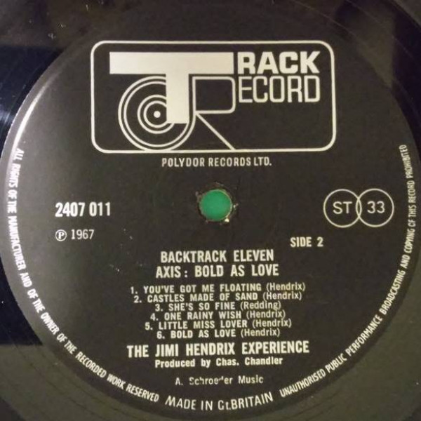 The Jimi Hendrix Experience - Axis: Bold As Love - Track Record - 2407 011