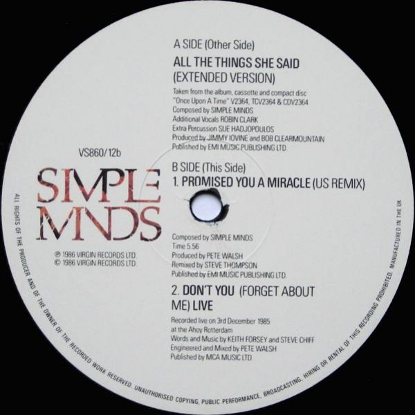 Simple Minds - All The Things She Said (Extended Version) - Virgin - VS860/12